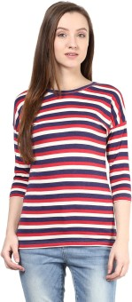 Hypernation Striped Women's Round Neck Red, White, Blue T-Shirt