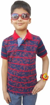 Brandonn Printed Boy's Polo Neck Dark Blue T-Shirt