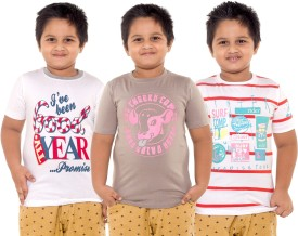 Menthol Printed Boy's Round Neck White, Grey, Red T-Shirt Pack Of 3