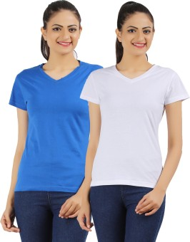 Ap'pulse Solid Women's V-neck White, Blue T-Shirt Pack Of 2