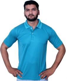Fashion Tree Solid Men's Polo Neck Blue T-Shirt