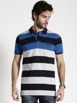 Roadster Striped Men's Polo Neck Blue, Grey T-Shirt
