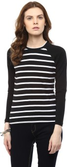 Hypernation Striped Women's Round Neck Black, White T-Shirt