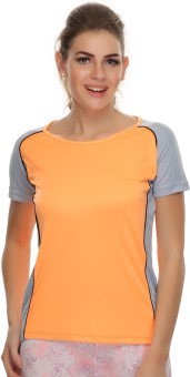 Clovia Solid Women's Round Neck Orange, Blue T-Shirt