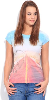 Flying Machine Printed Women's Round Neck White, Blue, Pink T-Shirt