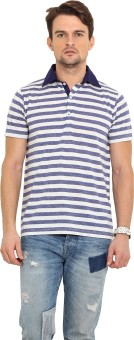 Northern Lights Striped Men's Polo Neck Blue, White T-Shirt