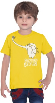 Tantra Graphic Print Boy's Round Neck Yellow T-Shirt