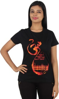 Stallion Cottons Printed Women's Round Neck Black T-Shirt