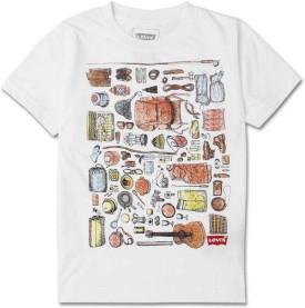 Levis Kids Graphic Print Boy's Round Neck White T-Shirt