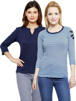 Limeberry Striped, Solid Women's Round Neck, V-neck T-Shirt Pack Of 2 - TSHEEFKQYGCPKGTX
