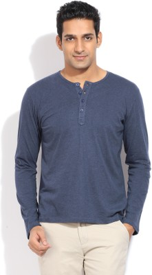 Bossini BOSSINI Solid Men's Henley T-Shirt (Blue)