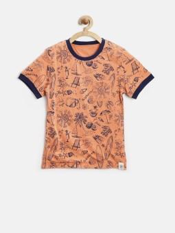Yk Printed Boy's Round Neck Orange, Dark Blue T-Shirt