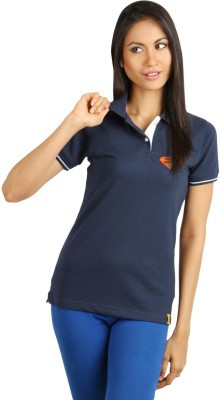 Campus Campus Sutra Solid Women's Polo T-Shirt (Blue)