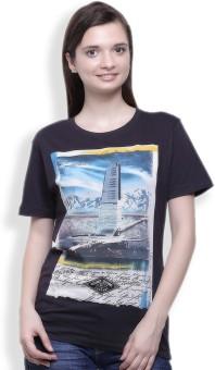 Go India Store Printed Women's Round Neck Grey T-Shirt