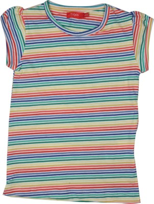 Unkss Striped Girl's Round Neck Reversible T-Shirt