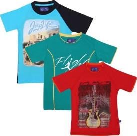 SPN Garments Printed Boy's Round Neck Green, Blue, Orange T-Shirt