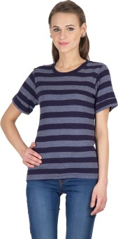 Hypernation Striped Women's Round Neck Blue, Grey T-Shirt
