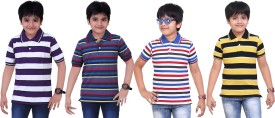 Dongli Striped Boy's Polo Neck Purple, Blue, Dark Blue, Yellow T-Shirt Pack Of 4