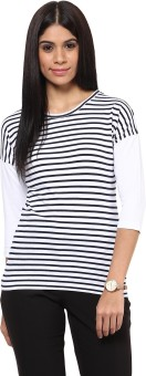 Hypernation Striped Women's Round Neck Blue, White T-Shirt - TSHEGKRZNAX7T6AF