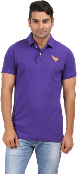 Kite Clothing Purple Color Yellow Embroidered Bird Solid Men's Polo Neck T-Shirt