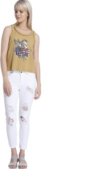 Vero Moda Graphic Print Women's Round Neck Brown T-Shirt