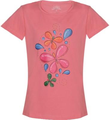 Aquamagica Floral Print Girl's Round Neck T-Shirt