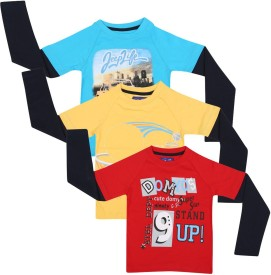 SPN Garments Printed Boy's Round Neck Blue, Yellow, Red T-Shirt