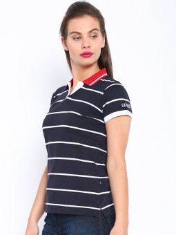 Harvard Striped Women's Polo Neck Dark Blue T-Shirt