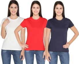 Ten On Ten Solid Women's Round Neck White, Red, Blue T-Shirt Pack Of 3