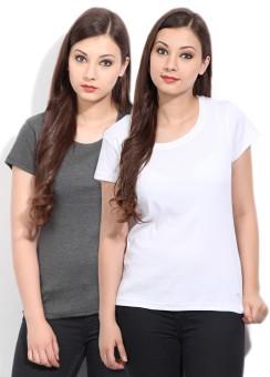 Fort Collins Solid Women's Round Neck White, Grey T-Shirt