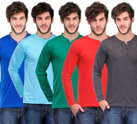 TSX Solid Men's Henley Multicolor T-Shirt
