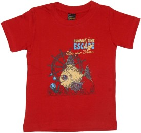 Plipsh Graphic Print Boy's Round Neck Red T-Shirt
