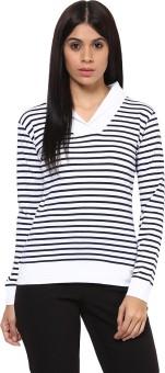 Hypernation Striped Women's Draped Neck Blue, White T-Shirt