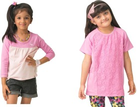 Bluebuck Printed Girl's Round Neck Pink, Pink T-Shirt
