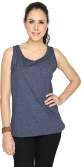 SayItLoud Blue Solid Women's Round Neck T-Shirt