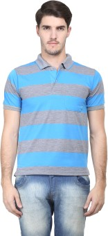 Vimal Striped Men's Polo Neck Blue, Grey T-Shirt