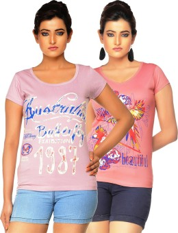 Jazzup Printed Women's Round Neck Pink, Pink T-Shirt Pack Of 2
