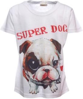 Sheena Printed Boy's Round Neck White T-Shirt