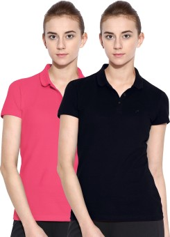 Polo Nation Solid Women's Polo Neck Dark Blue, Pink T-Shirt Pack Of 2