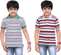 Dongli Striped Baby Boy's Polo Neck White, Silver T-Shirt (Pack Of 2)