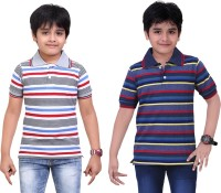 Dongli Striped Baby Boy's Polo Neck Grey, Blue T-Shirt (Pack Of 2)