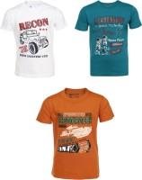 AJ Dezines Graphic Print Baby Boy's Round Neck Orange, White, Green T-Shirt (Pack Of 3) - TSHEKHBEHNWHGZFN