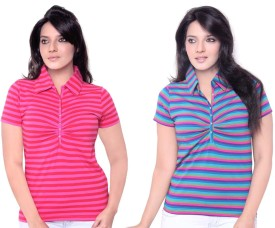 Sinimini Stripes Striped Women's Polo Neck T-Shirt Pack Of 2