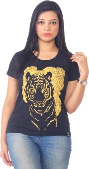 One For Blue Animal Print Women's Round Neck T-Shirt