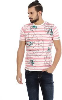 Basics Striped Men's Round Neck Pink T-Shirt