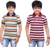 Dongli Striped Baby Boy's Polo Neck Dark Green, Maroon T-Shirt (Pack Of 2)