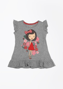 People Printed Girl's Round Neck T-Shirt