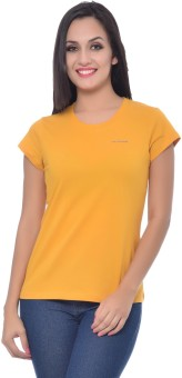 Frenchtrendz Solid Women's Round Neck Yellow T-Shirt