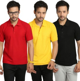 Weardo Solid Men's Polo Neck Red, Yellow, Black T-Shirt Pack Of 3