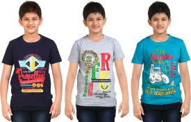 Dongli Printed Boy's Round Neck Silver, Multicolor, White T-Shirt Pack Of 3